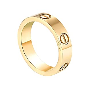 SHOUTW 6mm Unisex Rings with Screw Design Best Gifts for Love Gold