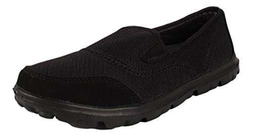 Ladies Slip On Shoes Womens Mesh Go Walking Trainers Ftiness Comfort Athletic Shoes 3-8 (UK 6 / EU 39, Black)