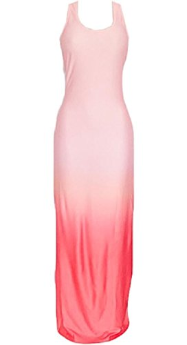 Ombre Neck Long Dress Round Sleeveless Coolred Pink Maxi Skinny Thin Women 6qUfYXf