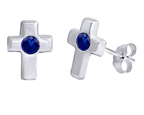 (Mothers Gift Simulated Blue Sapphire Single Stone Cross Stud Earrings 14K White Gold Over Sterling Silver)
