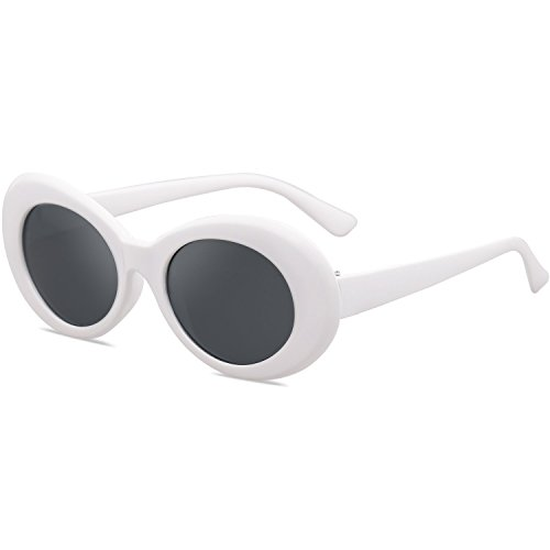 4d250ac495 SOJOS Clout Goggles Oval Mod Retro Vintage Kurt Cobain Inspired Sunglasses  Round Lens SJ2039 with White