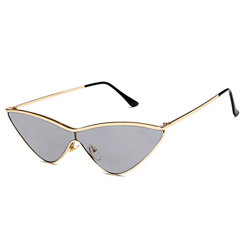 Livhò Triangle Sunglasses for Women Cat Eye Sunglasses UV400 with Golden Plating Metal Frame Fashion Design (Cateye Mirror)