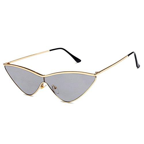 Livhò Triangle Sunglasses for Women Cat Eye Sunglasses UV400 with Golden Plating Metal Frame Fashion Design (Mirror Cateye)