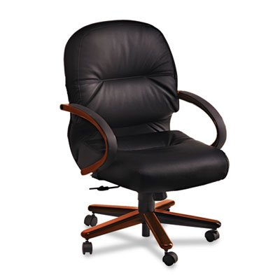 - HON 2192NSR11 2190 Pillow-Soft Wood Series Mid-Back Chair, Mahogany/Black Leather