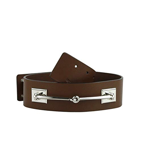 Gucci Women's Silver Horsebit Nut Brown Leather Horsebit Waist Belt 363024 2548 (80/32) (Horsebit Buckle Belt)