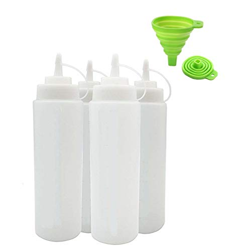 Orfila Supplies Squeeze Bottle Salad Dressing Dispenser Plastic Ketchup Squeeze Bottle Clear Squirt Bottles for Condiments Syrup Dispenser Sauce Bottles 32oz 4 Pack - Includes Silicone Funnel