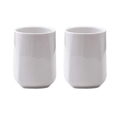 (Minimalistic stylish Ceramic Coffee Cup,TeaCups, White, Set of 2(9.8oz))