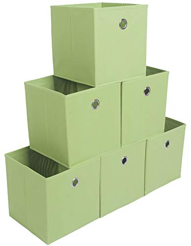 Amborido Storage Cubes Foldable Drawers Office Toys Room Organizer Cubby Clothes Fabric Kids Bins 6 Pack (Green) ()