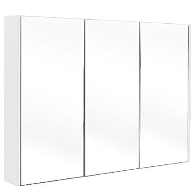 "Tangkula 36"" Wide Wall Mount Mirrored Bathroom Medicine Cabinet Storage 3 Mirror Door"