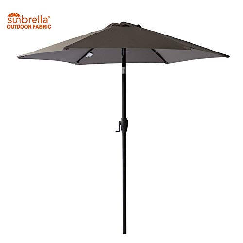 FLAME&SHADE 7.5' Sunbrella Aluminum Outdoor Patio Umbrella Market Style with Tilt for Table Balcony Garden Café Terrace or Deck,