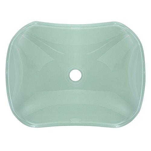 Tempered Glass Vessel Bathroom Vanity Sink Scalloped Bowl, White Color Hardware Plumbing