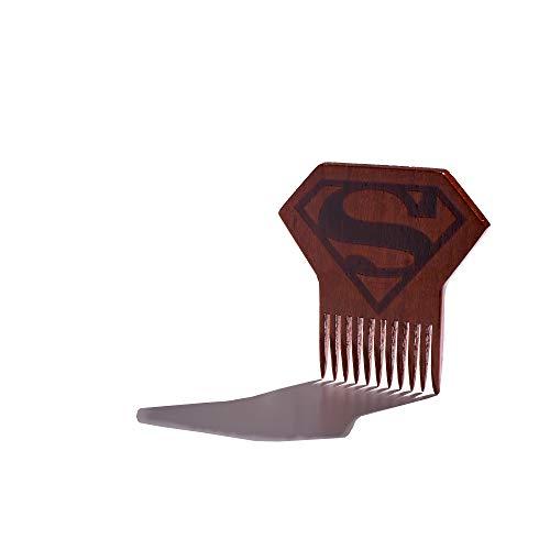 Superman Logo Beard Comb, Mens Wooden Facial Hair Brush - Beard Gains -