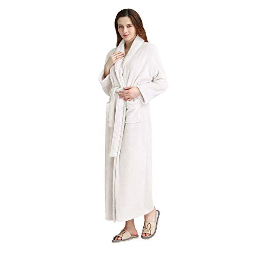 Long Bath Robe for Womens Plush Soft Fleece Bathrobes Nightgown Ladies Pajamas Sleepwear Housecoat White