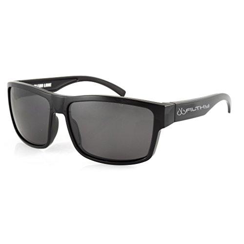 Filthy Anglers Ames Polarized Fishing Sunglasses Black wayfarer frame, Smoked Lens