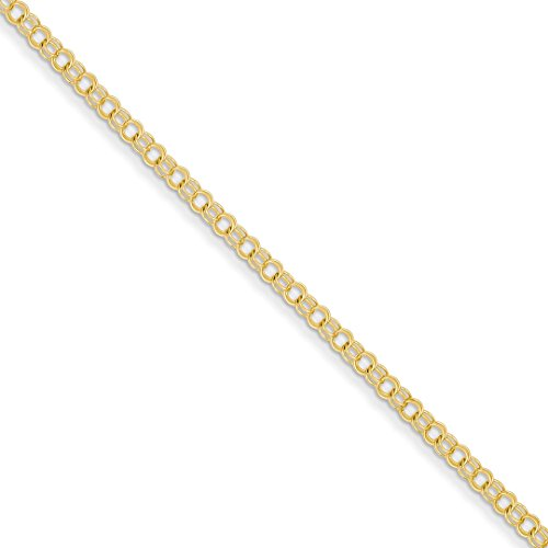 ICE CARATS 14k Yellow Gold 3mm Solid Double Link Charm Bracelet 7 Inch Fine Jewelry Ideal Mothers Day Gifts For Mom Women Gift Set From Heart Double Link Yellow Bracelet