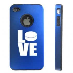 Apple iPhone 4 4S 4 Blue D2948 Aluminum & Silicone Case Cover Love Hockey