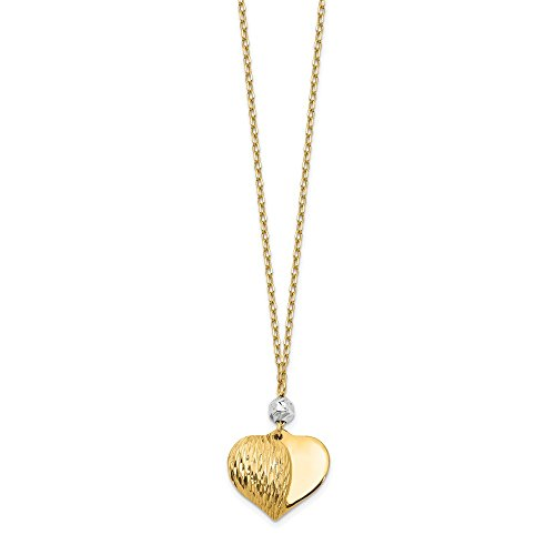 14k Two Tone Yellow Gold Heart Chain Necklace Pendant Charm S/love Fine Jewelry Gifts For Women For Her