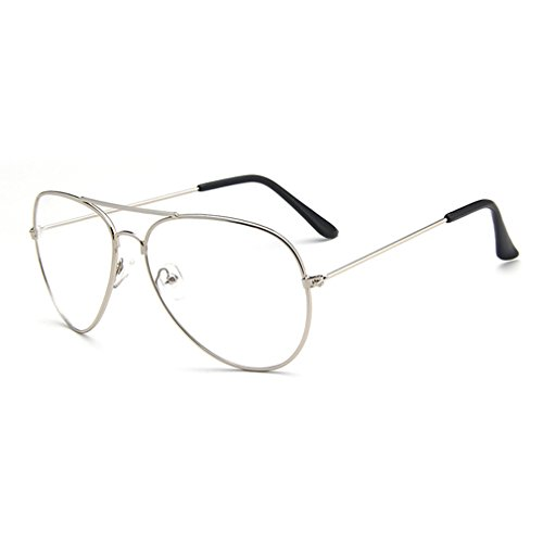LOMOL Fashion Aviator Style Radiation Protection Transparent Clear Lens Metal Frame - Can Glasses I Where Find Nerd