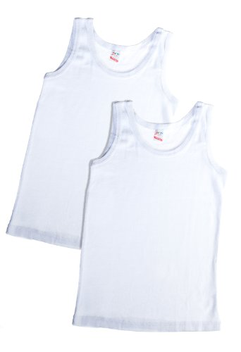 Brix Boys white tank tops 100% cotton Super Soft Undershirts 2 pk tees. 3/4 (Boys White Tank)