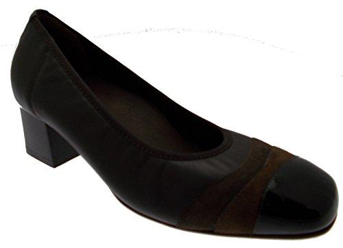 scarpa donna art X4136 Decoltè pelle marrone vernice camoscio
