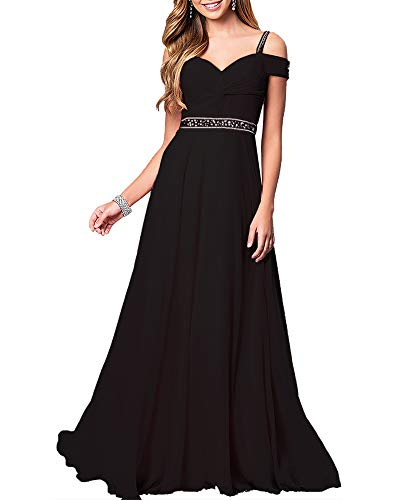 Aofur New Lace Long Chiffon Formal Evening Bridesmaid Dresses Maxi Party Ball Prom Gown Dress Plus Size (Medium, Black) ()