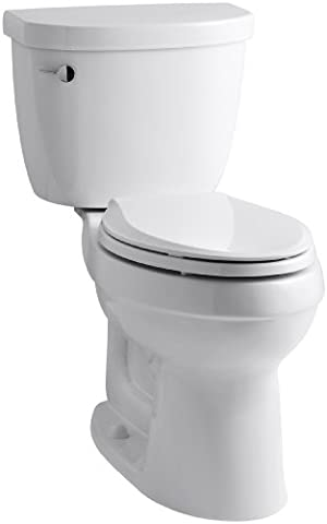 KOHLER K-3589-T-0 Cimarron Comfort Height Elongated 1.6 gpf Toilet with Class Five Technology and Left-Hand Trip Lever, Less Seat, - Kohler Class Five Flushing System