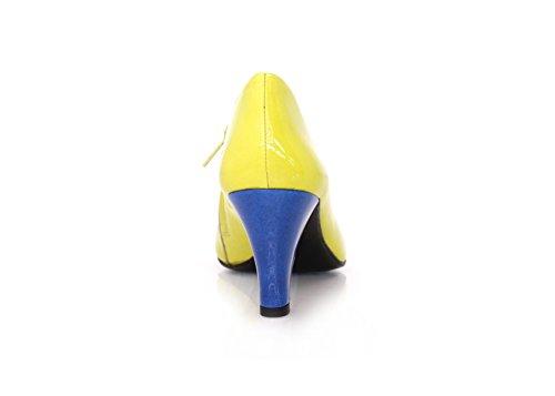 Stiefeletten Ankleboots Breiter Absatz 7cm Blau Lemon Lackleder