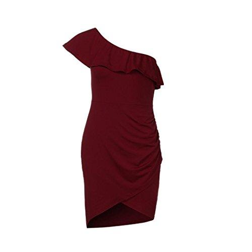 Du des robes Bodycon une paule sexy robe cocktail vintage manches solides Vin asymtrique GreatestPAK femmes Mini w6AqU7