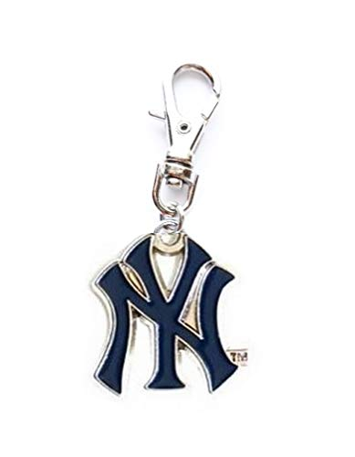 Heavens Jewelry Small NY York Yankees Baseball Charm ADD to Zipper Pull PET Dog CAT Collar Leash Keychain ()