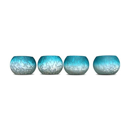 The Beach Chic Aqua Hurricane Wind-Light, Candle Holder, Set of 4, Artisanal Speckle Glass, Hand Blown, Ombre, Rustic Blue and White, Translucent Speckles, 3 Diameter x 3½ Tall Inches, Globe by Whole House Worlds