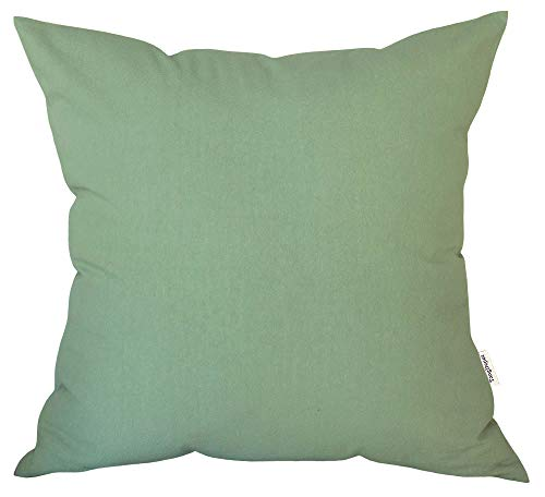 "TangDepot Decorative Handmade Solid Cotton Throw Pillow Covers, Super Soft Pillow Shams, Indoor/Outdoor Square Cushion Cover - (16""x16"", Mint Green)"