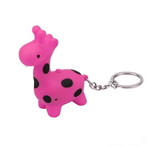 Colorful Charm Key Chain CZYCO Cute Keychain Giraffe Keychain With LED Light And Sound Keyfob Kids Toy Gift (HOT)