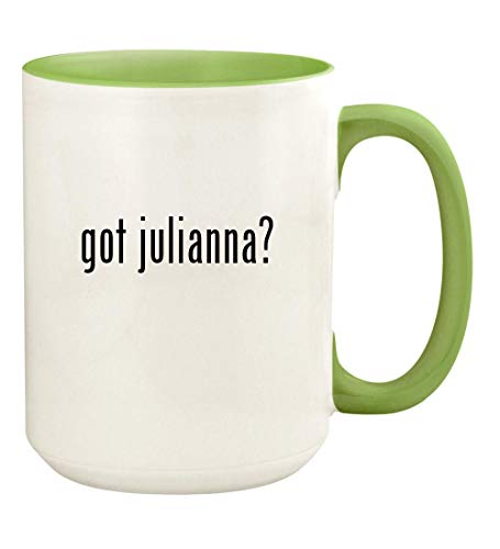got julianna? - 15oz Ceramic Colored Handle and Inside Coffee Mug Cup, Light Green