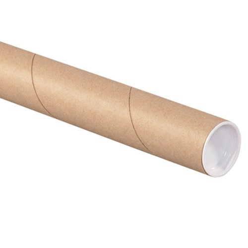 Aviditi P1512K Fibreboard 3-Ply Spiral Wound Mailing Tube with Cap, 12' Length x 1-1/2' Width, Kraft (Case of 50)