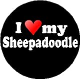 I Love My Sheepadoodle MAGNET (heart) - Old English Sheepdog and Standard Poodle