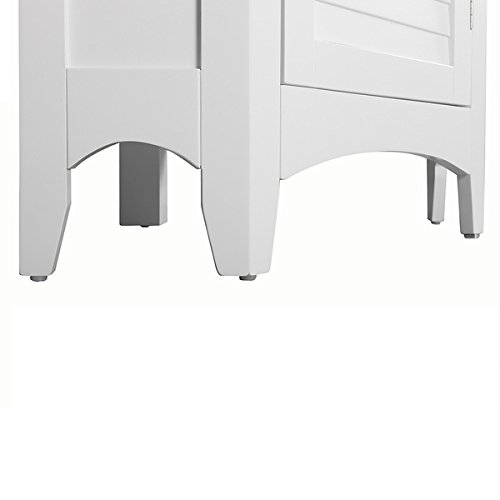 Modern Adjustable Bayfield Shutter Door Corner Floor Cabinet White Finish by Elegant Home Fashions (Image #4)