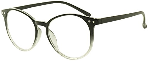 Original Classic Round Vintage Prescription Magnification Reader Eye Glasses Rx Power Strength +1.25 125 1.25 (Black Clear, +1.25)