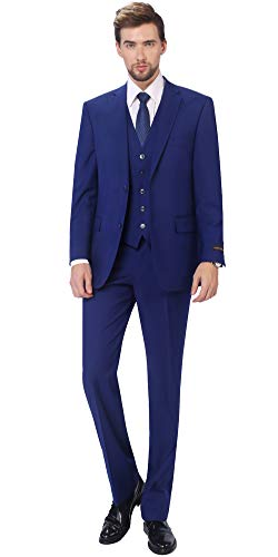 P&L Men's 3-Piece Classic Fit Vest Suit Jacket & Expandable Waist Dress Pants Blue