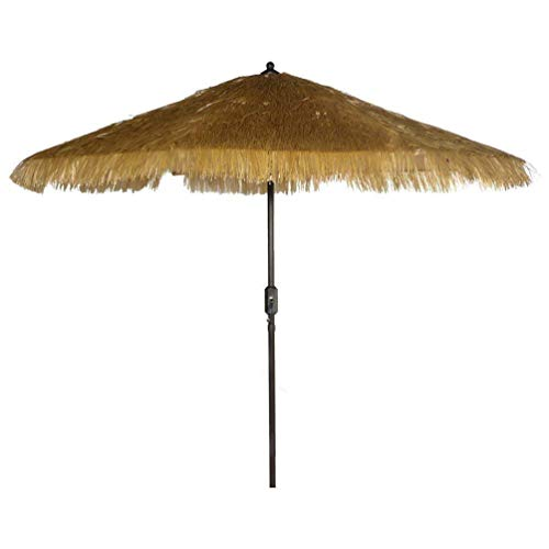 9 8 Ribs Thatch Tiki Umbrella with Crank and Auto Tilt Aluminum Outdoor Patio Market Umbrella Thatched Tiki, Beige