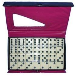 Jumbo Dominoes Double Six- Ivory W/ Black Indented Dots by MAGNIFYING AIDS