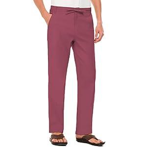 Janmid Men Casual Beach Trousers Linen Summer Pants 27