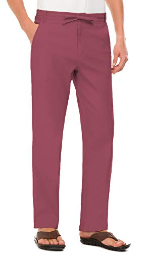 Janmid Men's Drawstring Casual Beach Trousers Linen Summer Pants Wine Red L
