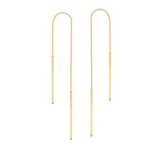 Threader Earrings 14K Yellow Gold Polished Double Bar with Box Chain
