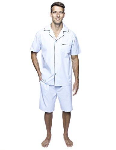 Noble Mount Twin Boat Men's Cotton Short Pajama Set - Crystal Blue - Medium