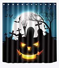 DoreenAbe Surreal Shower Curtain, Halloween Pumpkin Shower Curtain, Makeup Black Bats Farm Trees in Moon Night Bathroom Decor Waterproof Fabric 71 x 79 Inches]()