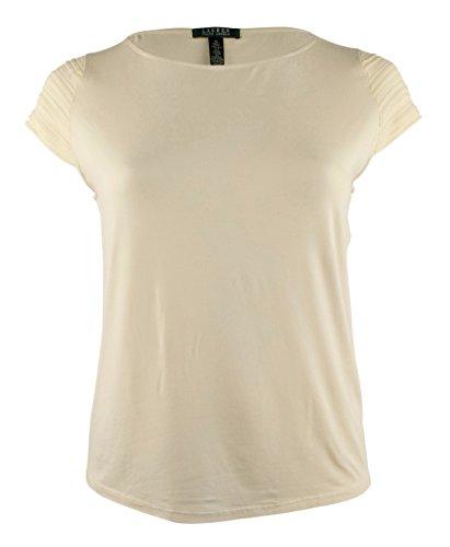 Lauren Ralph Lauren Plus Size Pintucked Cap-Sleeve Top (1X, Modern Cream) Cap Sleeve Knit Polo Top