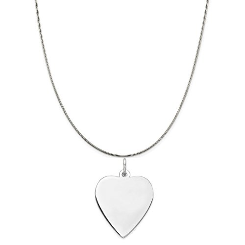 Engravable Heart - Sterling Silver Engravable Heart Polished Disc Charm on a Sterling Silver Snake Chain Necklace, 18