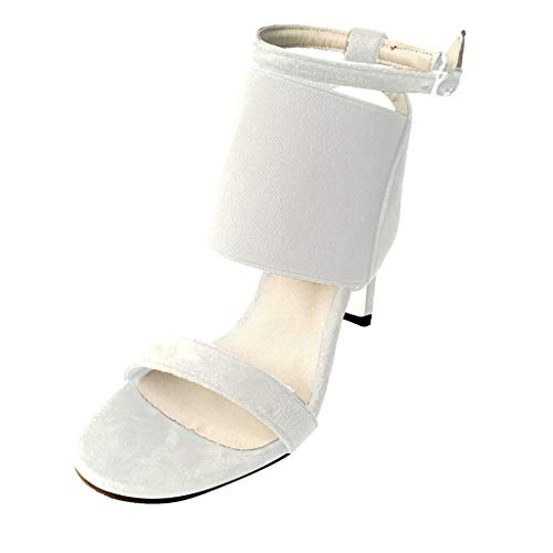 Women Fashion One Band Heeled Sandals Elastic Band Slingback Open Toe High Stiletto Pumps by Lowprofile White