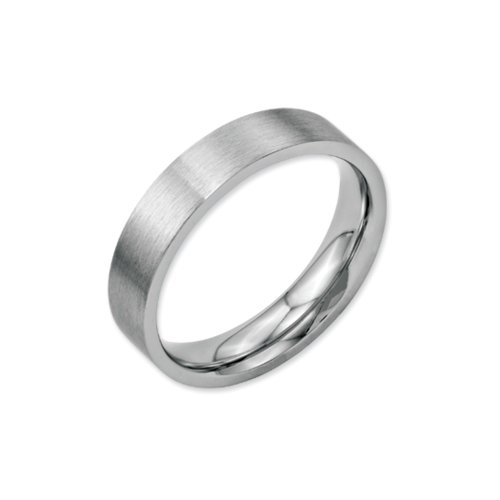 Mm Band 5 Brushed - 5mm Brushed Stainless Steel Flat Comfort Fit Wedding Band Size 10