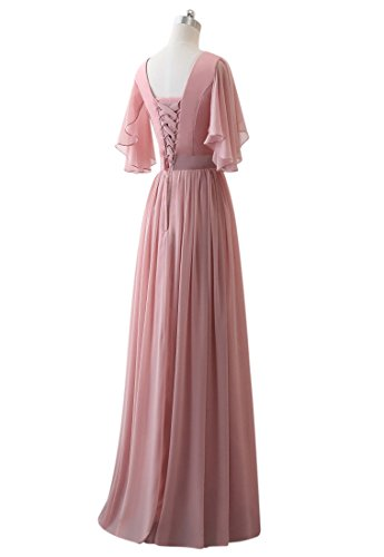 Brautjungfer Chiffon Blau Royal V Lange Kleid Lovelybride Party Frauen Linie A Kleider Ausschnitt gwUWYTX7q